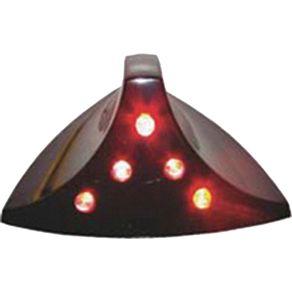 Antena Decorativa Tubarão Cromada Luz Sequencial Vermelha