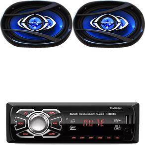 Rádio Mp3 Usb Bluetooth Sd Card Par de Alto Falante 6x9